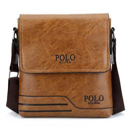 Polo leder schulter tasche online-Herren Umhängetasche Hohe Qualität Berühmte Marke Design Männer Umhängetasche Casual Business Leder Vintage-Mode Polo Cross Body
