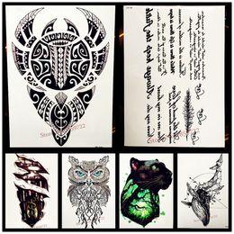 Argentina 25 estilo impermeable negro Totem brazo tatuaje para hombres mujeres letras falsas caracteres chinos Tatoo Body Art tatuaje temporal pegatinas Suministro