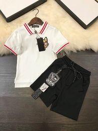 Wholesale two color collar shirt - 100% cotton Boys set 2018 handsome Kids boy Clothing Set Stripe collar Polo T shirt+pants Cartoon Dog two color