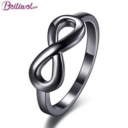 Wholesale Endless Love Rings - whole saleBeiliwol Fashion Women's Jewelry Black Gun Infinity Rings Engagement Simple Style Wedding Ring Charms Endless Love Gift Female