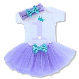 e70a3f311b28 Little Mermaid Princess Girl First 1st Birthday Dress Outfits Sets Baby  Clothing Suits Tutu Purple Girl Kids Summer Clothes 3pcs