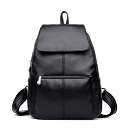 Wholesale layer school bags - Women Fashion Backpack Genuine Leather Backpacks Natural Soft Real Cow Leather Top Layer Cowhide Ladies Girls School Bag