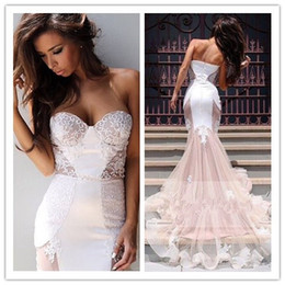 Wholesale Long Baby Blue Prom Dresses - Charming Lace Mermaid Prom Dresses Baby Pink Sweetheart Sheer Illusion Long Evening Gown Red Carpet Gowns Formal Celebrity Gowns Sweep Train
