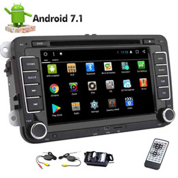 Wholesale media radio - Wireless Camera Double Din Android 7.1 8 Core Car Stereo Autoradio Double Din GPS Car DVD Muti-media Player Receiver In Dash Bluetooth