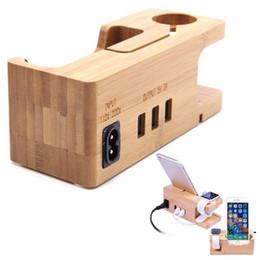 Puerto usb de montaje online-Soporte para Apple Watch Dock Organizador de estación de carga con adaptador de corriente Desktop Bamboo Wood 3 puertos USB Dock Holder Mount
