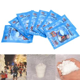 Wholesale fake snow decorations - 10pcs White Snow for Christmas Fake Magic Instant Snow Fluffy Super Absorbant Decorations For Christmas Wedding