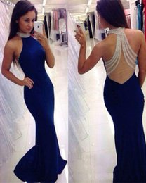Wholesale glamour red - 2018 Royal Blue Bodycon Mermaid Prom Dresses Bling Crystals Halter Neck Sheer Back Evening Gowns Glamour Girls Pageant Party Dress