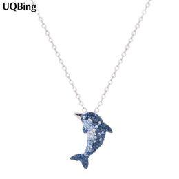 golfinho colares prata Desconto Frete Grátis 925 Sterling Silver Rhinestone Dolphin Colares Pingentes Colar de Jóias Colar de Plata