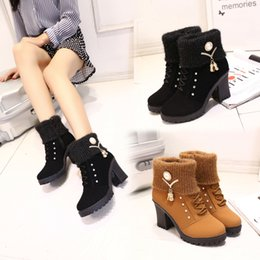 Wholesale Thick British Women - 2018 new European autumn winter Martin boots female British style high-heeled boots with thick cotton padded shoes and boots cashmere mother