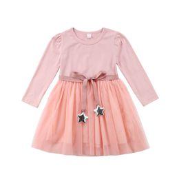 b6152348d4d14 Enfants Filles Solide Tutu Rose Robes Manches Longues De Mariage Partie  Fleur Kid Fille Vêtements Rubans Argent Etoiles Princesse Robe Enfants  Vêtements