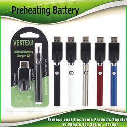 Wholesale pen black - Preheating VV Battery Charger Kit 350mAh PreHeat Vertex O Pen Bud Touch Function Variable Voltage Vape Battery For CE3 G2 Cartridge