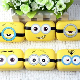 Wholesale Minions Casing - Minions Metal contact lens case cute yellow Cartoon Cosmetic Contact Lenses Box with mirror eyewear accessories L030