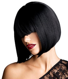 """Wholesale Darker Black Cosplay - 12"""" Straight Human Hair Short Bob Hair Wigs with Flat Bangs for Women Cosplay Daily Party - Black Color"""