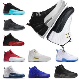 Wholesale French Lace Rose - Cheap Original 2018 12 basketball shoes 12s white Flu Game UNC Gym red taxi gamma Grey playoffs french blue Suede sneaker shoe