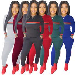 2019 roupas de calças listradas Mulheres de grife agasalho listrado leggings leggings duas peças set camisola collants outfits pullover tops calças sportswear queda roupas desconto roupas de calças listradas