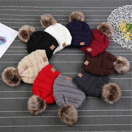 Wholesale Child Fur - Kids CC Trendy Hats with Liner Fur Poms Beanie Winter Label Fedora Luxury Cable Slouchy Skull Caps Fashion Leisure Outdoor Hats YYA990