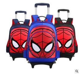 Sacs d'école sac à dos en Ligne-3D Spider Men Enfants 's Travel Bagages Sac à dos sur roues Trolley Boys Sac à dos avec roue pour école Kids Rolling Bag School
