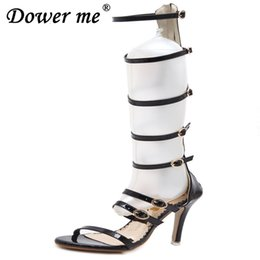 Rome Sandals Women Knee High Cool Boots Sexy Buckle Gold High Heels  Clubwear Party Stiletto Shoes Gladiator High-heeled Sandals 1f14ac8abcef