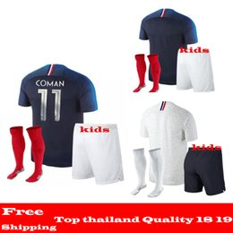 Wholesale Boys L - AAA+ quality 2018 World Cup jerseys GRIEZMANN Mbappe KANTE POGBA Soccer Sets 18 19 Maillot de foot de l'équipe nationale France kids kits