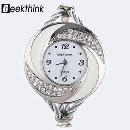 Diseño de tejido de vestir online-Rhinestone de la manera Diamond Whirlwind Design Steel Weave Dress Reloj de pulsera Mujer Chica Ladies Bracelet Bangle reloj de cuarzo