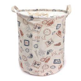 2019 coladores de fregadero de plastico Al por mayor-ropa sucia cesta de lavandería bolsa de lino de lavado cesta Home Bag uso de limpieza bolsas plegables almacenamiento de juguetes 13.8 '' x