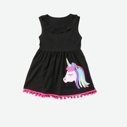 Wholesale Girls Clothing Leopard Dress - Summer Girls Unicorn print Tassels Dresses kids Cotton Black Lotus leaf Casual Dress Princess dresses party dress Children Clothing 1-7Y