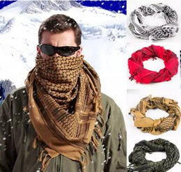 Wholesale Men Shemagh - 100% Cotton Thick Muslim Hijab Shemagh Tactical Desert Arabic Scarf Arab Scarves Men Winter Military Windproof Scarf 50 pcs