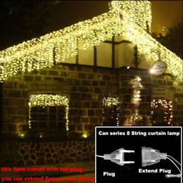 Wholesale Wholesale Icicle Christmas Lights - Curtain Icicle Led Strings light Christmas Lights 4m Droop 0.4-0.6m Outdoor Decoration 220V 110V led holiday light New Year Garden Wedding