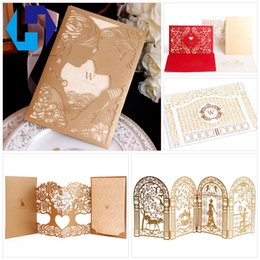 Wholesale Envelopes For Wedding Invitations - Wedding invitation with envelope 3D pop up hollow carved wedding greeting card for marriage laser cutting handmade