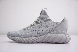Wholesale Cool Skateboarding Shoes - 2018 Tubular Doom Sock Primeknit Genuine Running Shoes for Men Top quality Cool Grey Mens boots Sneakers with Box