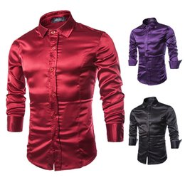 Cor mais camisa roxa on-line-Black Wine Red Purple Casual Men Stylish Slim Fit Short Solid Color Long Sleeve Shirts Tops Camisa Masculina Plus Size