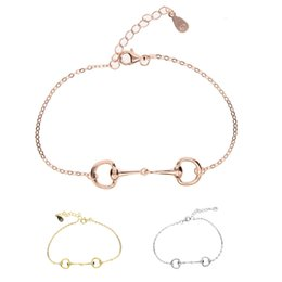 Wholesale real gold jewellery - 2017 New Arrived Charm Bracelets Round Real 925 Sterling Snaffle Bit Bracelet Horse Jewellery With Color Rose For Women Jewelry
