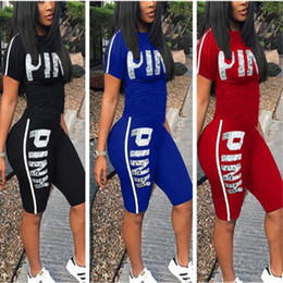 Wholesale Girls Blue Pants - Love Pink Letter Tracksuits Short Sleeve T-shirt Top Tees+Shorts Hot Pants Ladies Tight Bodycon Summer Casual Yoga Gym Jogger Suit S-3XL
