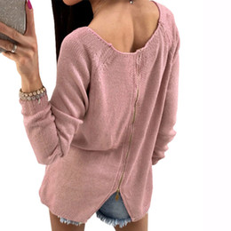Back Adjustable Zipper Casual Women Sweaters Autumn Winter Girl Solid Long  Sleeve Knitted Pullovers Sweater Tops Plus Size GV941 2d67e521a