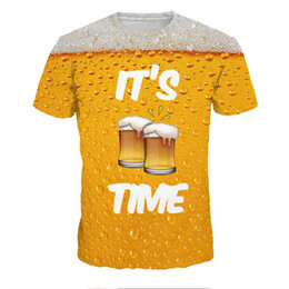Wholesale Beer Neck - 3D t-shirt Men Fitness IT'S BEER TIME Print T-shirts Plus Size Harajuku Crossfit Top Mens Newly Hip Hop T-Shirt Funny Streetwear