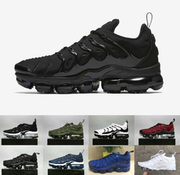 Wholesale winter male - 2018 New Vapormax TN Plus VM Olive In Metallic White Silver Colorways Shoes For Casual Male Shoe Pack Triple Black Men Shoes Free shipping