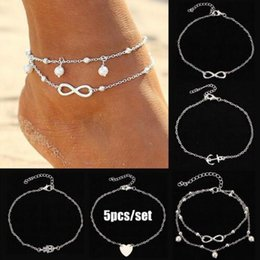 """Wholesale anchor ankle bracelet - 5pcs set Lady's silver and gold Plated Chain Ankle Anklet Bracelet set """"8"""" Heart Anchor pearl alloy Anklet Sexy Barefoot Beach Foot Jewelry"""