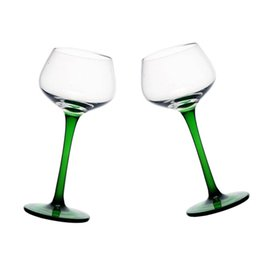 Wholesale wave clamp - 160 ml 5 OZ Clear Glass with Green Stem and Base Wine Glass Cocktail Goblet Novelty Gift 2 Pieces set DEC351