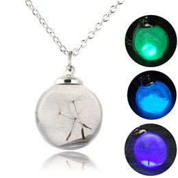 Wholesale Vintage Glass Flower Beads - Vintage Dandelion beads Pendant Necklace Glow In The Dark Glass Luminous Chain Make a Wish Necklace Gift for girl women