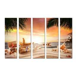 Canada Grand 5 Panneau Moderne Mur Art Photo Coucher De Soleil Paysage Marin Étoile de mer conque Imprimé Sur Toile Pour Salon Décoration De La Maison SetB25 Offre