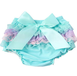 Wholesale Newborn Ruffled Diaper Cover - Summer Baby short kid Cotton Ruffle Bloomers cute Baby Diaper Cover Newborn Flower Shorts Toddler fashion Summer Satin Pants with Skirt