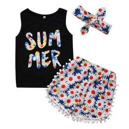 Wholesale Floral Vest Outfits - 3PCS Kids Girls Clothes Set 2017 Summer Vest Tops Floral Tassel Short Pants Headband Outfits Children Clothing Set Age 2-7Y