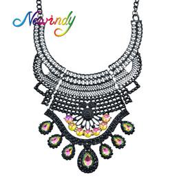 Wholesale Colorful Rhinestone Statement Necklaces - whole saleNewindy New Indian Jewelry Maxi Necklace Black Chain with Colorful Rhinestone Water Drop Geometric Big Statement Necklace