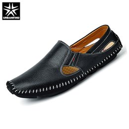 Wholesale Opening Drive - URBANFIND Casual Fashion Men Leather Driving Shoes Plus Size 45 46 47 Sewing Design Men Light Soft Loafers Slip-on Footwear