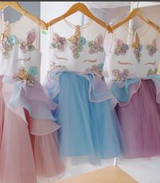 Розничная Девушка Платье 2018 Новый Единорог Вышивка Бисером Марля Принцесса Платье Детская Одежда 7 Цветов E80477 от