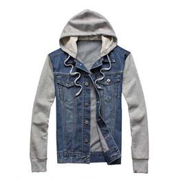Wholesale Vintage Coat Xs - New Dropshipping Men's Denim Hoodie Men Jacket Jean Cotton Blend Patchwork Retro Vintage Autumn Hip-hop Winter Fall Tops Coats