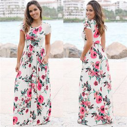 Wholesale white boho tunic - 2018 Summer Long Dress Floral Print Boho Beach Tunic Maxi Dress Women Evening Party Dress Sundress Vestidos de festa XXXL