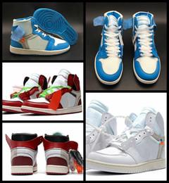 Hochwertiges pulver online-Hohe Qualität 1 Weiß Powder Blue Basketball Schuhe Für Männer 10X Chicago Gezüchtet 1 s Herren OFF Trainer Sport Turnschuhe