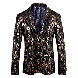 Floral Blazer Men 2018 Designs Slim Fit Blazer Or Veste Décontracté Hommes Velvet Blazers Flash Deals Male Prom Stage Wear ? partir de fabricateur