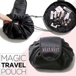 Wholesale travel clothes bags - 4 Colors Vely Vely Drawstring Cosmetic Bag Large Capacity Travel Portable Lazy Cosmetic Bags Polyester Make Up Pouch CCA9096 30pcs